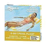 AQUA 4-in-1 Monterey Hammock Inflatable Pool Float, Multi-Purpose Pool Hammock (Saddle, Lounge Chair, Hammock, Drifter) Pool Chair, Portable Water Hammock, Golden Sunshine