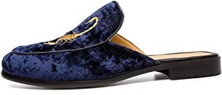XUJW-Shoes, for Men Oxford Shoes Fashion Slippers Outdoor Leisure Fashion Casual Sandals OX Leather Suede Leather Half A Towed Shoes Pure Colors Embroidery Upper (Color : Blue, Size : 8.5 UK)