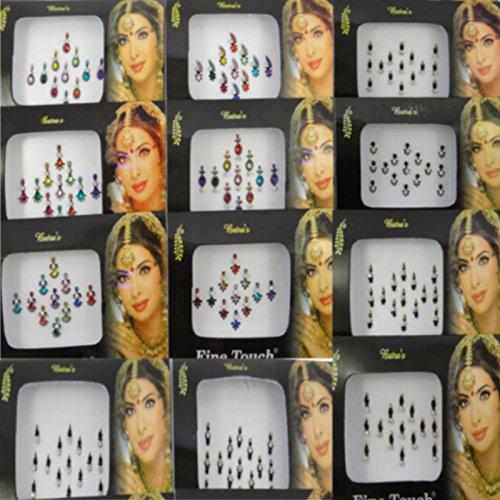 Banithani Pack De 12 Multicolores Bindi Femmes Indiennes Auto Accessoires De Tatouage Autocollant Adhésif