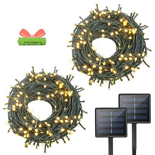 OZS- 2PK 72FT 400LED Solar String Lights Outdoor, Waterproof 8 Modes Solar Outdoor Tree Lights, Green Wire Christmas Lights for Garden, Party, Wedding (Warm White)