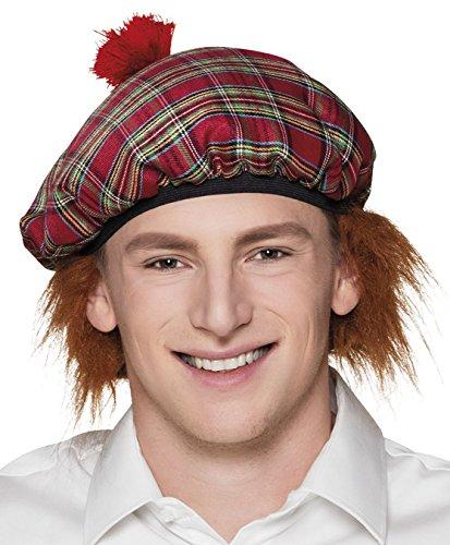 Boland 81223 - Baskenmütze Herr Tartan mit roten Haaren, kariert, für Erwachsene, Barett, Hut, Accessoire, Kopfbedeckung, Kostüm Schotte, Schottland, Motto Party, Karneval