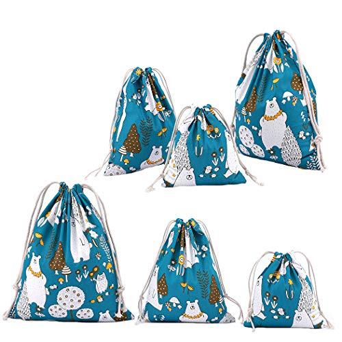 Abaría - 6 Unidades Bolsa de algodón con Cuerdas – Pequeña Saco Bolsas - Bolsa Inserto Organizador para bebé Ropa Juguete pañales - Bolsa de Regalo - 2* (25x 30cm), 2*(19 x 23 cm), 2*(14 X 16)