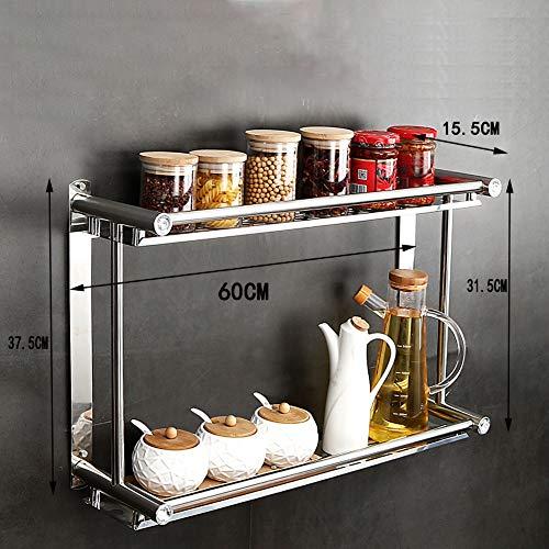 2-staps kruidenrek, keukenrek, aan de muur gemonteerde kruidenrek, roestvrijstalen bergrack, geen boren, antislip, modern design, gebruikt voor keuken muurrek, kast, badkamer 60 cm.