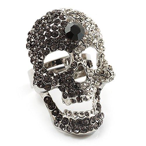 Avalaya Dazzling Clear/Dimgrey Crystal Skull Cocktail Ring - Adjustable