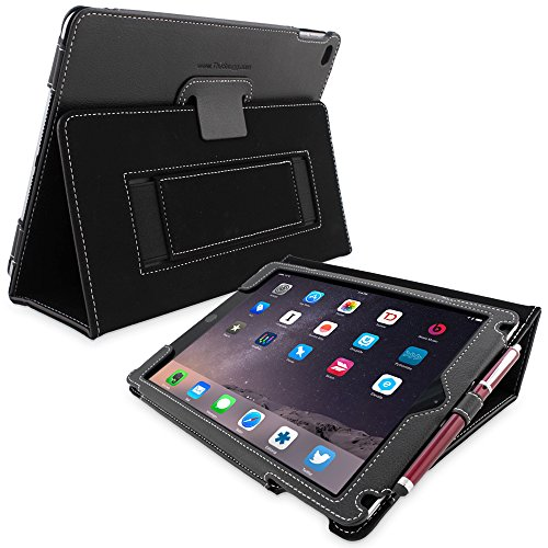 iPad Air & New iPad 9.7 inch 2017 Case, Snugg - Smart Cover Case with Kick Stand (Black Leather) for the Apple iPad Air 1 (2013)