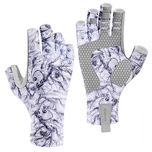Riverruns Fingerless Fishing Gloves- Fishing Sun Gloves- UV Protection Gloves Men and Women Fishing, Boating, Kayaking, Hiking, Running, Cycling and Driving.