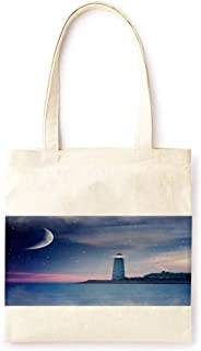 Cotton Canvas Tote Bag Modern Lighthouse Light Luxury Style Lovely Thanksgiving Fashion Printed Casual Large Shopping Bag for School Picnic Travel Groceries Books Handbag Design