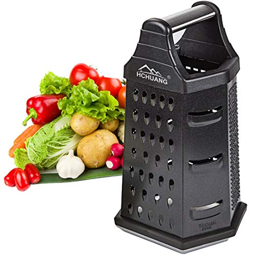 Professional Box Grater,Nonstick Coating Stainless Steel with 6 Sides - Vegetable Chopper, Kitchen Cutter, Shredder for Cheese & Vegetables (6-in-1)