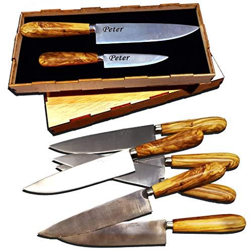 Generisch Messer Set mit Griff aus Olivenholz - graviert mit Wunschgravur, Klinge aus Molybdän Vanadium 380, personalisiert, Küchenmesser mit Wunschname scharf