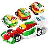Shayson Mini Veicoli a Tirare Indietro Auto Giocattolo Educativo 4 Pacchi Tirare Indietro Giocattoli Auto Portatile Deformazione Auto Giocattoli Migliori Regali per 3-8 Anni Bambine dei Ragazzi