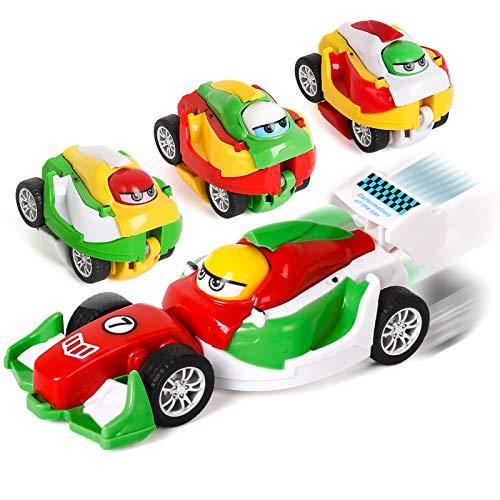 Shayson Mini Vehicles Pull Back Cars Juguete Educativo 4 Paquetes Pull Back Toys Deformación De...
