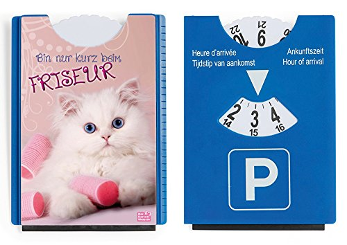 """Fun Spaß Motiv Parkscheibe mit Eiskratzer und Gummilippe süße Katze """"Bin nur kurz beim Friseur"""""""
