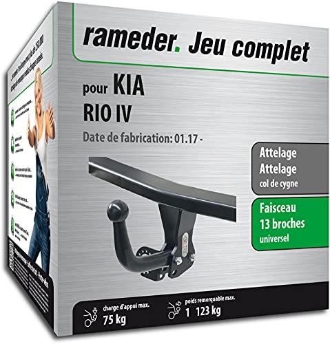 Rameder Pack, attelage démontable avec Outil + Faisceau 13 Broches Compatible avec KIA Rio IV (161074-37619-1-FR).