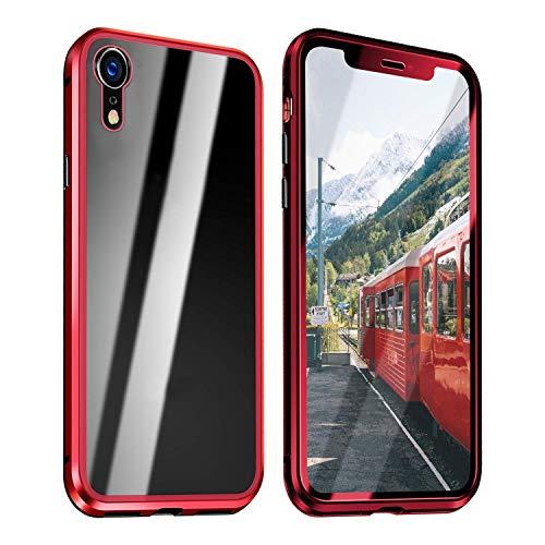 Funda Compatible para iPhone XR Adsorción Magnética 360 Grados Protección Carcasa Delantera y Trasera Colorear Vidrio Templado Metal Marco Delgada Bumper Cubierta Case (1)