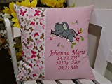 Kissen zur Geburt,Taufe (Elefant 1 rosa Butterfly)