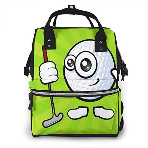 Baby Wickelrucksack Winkender Golfball, Multifunktional Wickeltasche Reise Rucksack Große Kapazität Babytasche Mit Wickelunterlage, Passform für Kinderwage