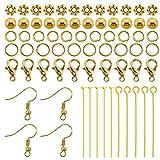 TOAOB Kit de joyería con chapado en oro perla pendiente de ganchos perlas cierres de langosta anillos de salto pines Paquete de 370