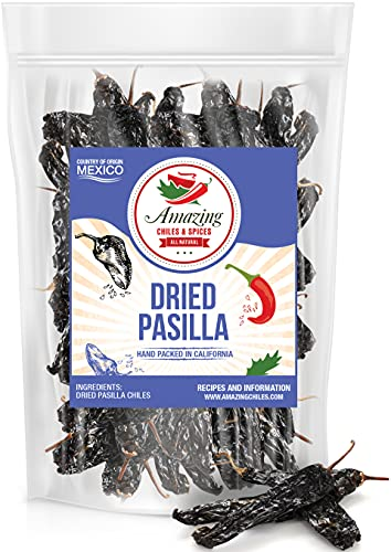 Pasilla Chiles Dried 5oz - Staple in Mexican Cooking: Moles, Sauces, Stews, Salsa. Mild Heat