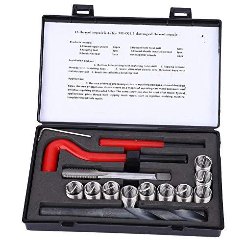 15 Stücke Gewindereparatursatz, Metrisch M14x1,5mm Edelstahl Gewinde Reparatureinsatz Kit, Spiralbohrer Inbusschlüssel Handwerkzeuge, Drill-Einsatz-Set für Beschädigte Gewinde Reparatur