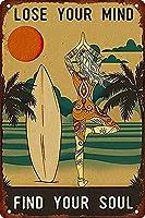 ケギルサーフィンヨガガールあなたの心を失ったあなたの魂を見つけるアンティークスズマークバー規則スズ金属壁アートマークポスター壁装飾ファミリーデコレーションバーオープン金属スズマークバー男の洞窟面白い壁装飾