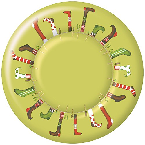 Ideal Home Reihe, Ply ROUND DESSERT PLATE CRAZY CHRISTMAS STOCKINGS LIME