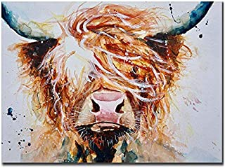 Zimal Full DIY Round Diamond Painting Highland Cow Handmade Diamond Embroidery Animal Decor Home Picture of Rhinestone 11.8 x 15.8 Inch