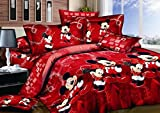 Haru Homie 100% Cotton Kids Reversible Printing Mickey Mouse Couples Duvet Cover 3PCS Bedding Set with Zipper Closure,Queen(No Comforter)