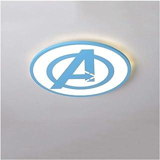 Modernas LED Lámpara de techo Creativa Vengadores Luz de techo Regulable con Mando a Distáncia Iluminación Pantalla de Acrílico Para de Niños y Niñas Sala Infantil Plafón,32WØ42cm,Azul