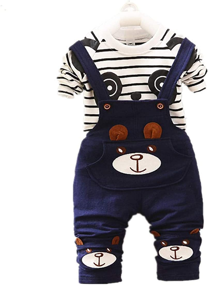 Newborn Baby Boys Clothes Outfit Gentleman Suit Trousers Long Sleeve Striped top 2Pcs Set