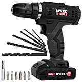 MYLEK MYW09 18V Cordless Drill Electric Screwdriver Set, Powerful Lithium Ion Battery Pack, 18 Volts Combi Driver, DIY Accessory Kit, Black