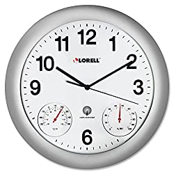 Lorell Analog Temperature/Humidity Wall Clock, 12-Inch, Silver