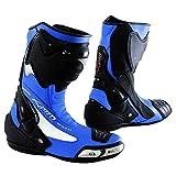 A-Pro Stivale Scarpa Calzatura Pelle Moto Race Racing Sport Pista Tecnico Blu 43
