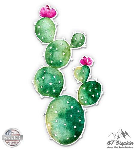 Watercolor Cute Blooming Cactus - 3' Vinyl Sticker - for Car Laptop I-Pad Phone Helmet Hard Hat - Waterproof Decal