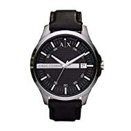 ARMANI EXCHANGE men watch - Round stainless steel case (diam. 46 mm) in polished and brushed finishing - 5 ATM water pressure resistance construction Black genuine leather strap - Buckle Black dial with silver-tone indexes - 3 hand movement with date...