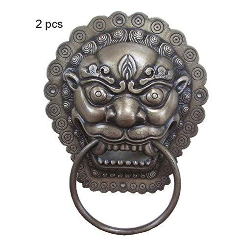 Llamador de puerta 2 piezas hardware antiguo aldaba de puerta de cabeza de animal aldaba de puerta de latón montaje de pared de metal aldaba de puerta de cobre rústico Aldaba de puerta de anillo