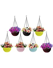 Go Hooked Plastic Hanging Planter Set, Multicolour, Pot Diameter-7.1 Inch), Pot Height-4.8 Inch, Pot Thickness-3 mm, Chain Length-13 inch approx., 7 Pieces