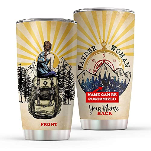Custom Tumbler Wander Woman Campers Good Heat Retention Metal Stainless Steel Water For Travel Coffee Gift For Birthday For Women Kids Boys Girls Unique Art Personalized