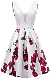 فساتين سهرة من Dydsz مزينة بالزهور للنساء فستان طويل للحفلات الراقصة مع جيوب