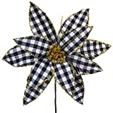 Supla 6 Pcs Christmas Black and White Buffalo Check Poinsettia with Gold Glitter Center Flower Picks Christmas Tree Ornaments 11.8' Wide for Rustic Christmas Tree Wreaths Garlands Wedding Decoration