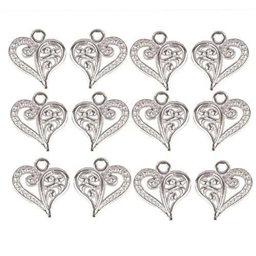 iuNWjvDU Encantos DIY 50pcs del corazón Colgantes Pulsera Amor Colgante, Collar Hecho a Mano del Arte de DIY fabricación de la joyería de Accesorios, joyería accesoria