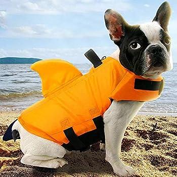 Gulunmun Pet Dog Swimwear Life Gilet Vêtements de sécurité d'été Pet Shark Life Jacket Pets Swimsuit Saver Vest for Small Medium Large Dog-Orange S 6-8KG