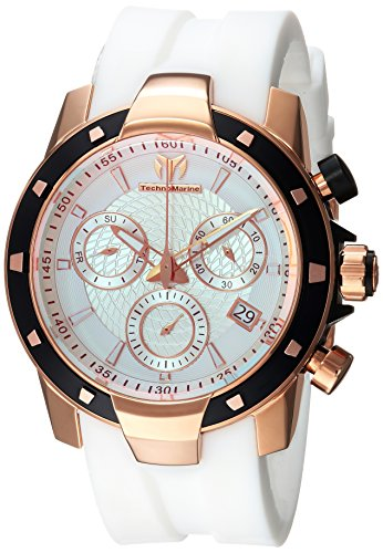 Technomarine Men's UF6 Gold Quartz Watch with Silicone Strap, White, 0.9 (Model: TM-615006)