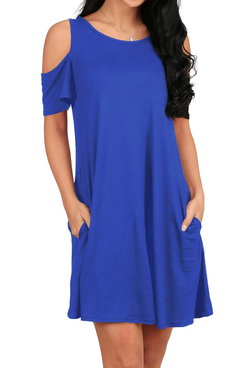 Available at Amazon: OFEEFAN Women's Cold Shoulder Tunic Top T-Shirt Swing Dress with Pockets