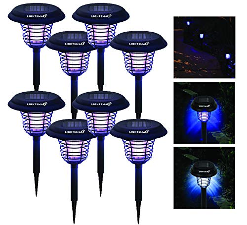 LIGHTSMAX Solar Powered Light Mosquito & Insect Bug Zapper Cordless...