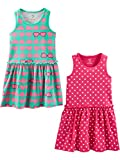 Simple Joys by Carter's Girls' Toddler 2-Pack Short-Sleeve and Sleeveless Dress Sets, hearts/Dots, 3T