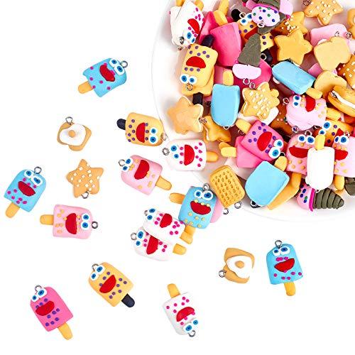 nbeads 100 Pcs Faite à la Main Nourriture Thème Argile polymère Pendentif Sangles pour téléphone clés Sac Charms ou Kids 'Jouets, Mixte Couleur, 17 - 29 x 13 - 20 x 7 - 21 mm, Trou : 2 mm