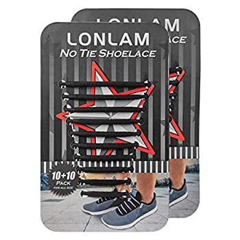 [Upgrade] Lonlam No Tie Shoelaces  Round Stretch Strings  Silicone Elastic Bungee Rubber Laceless Lazy Tieless Shoe Laces for Adults Kids Toddlers Sneakers Athletic Running Boot Dress Shoes  Black