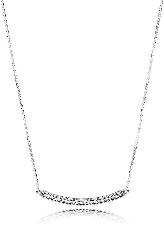 100% Sterling Silver Glamor Charm Necklace Original Women Wedding Jewelry