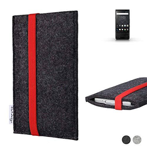 flat.design Handy Tasche Coimbra für BlackBerry KEYone Black Edition passexakt Filz Schutz Hülle Hülle anthrazit rot fair