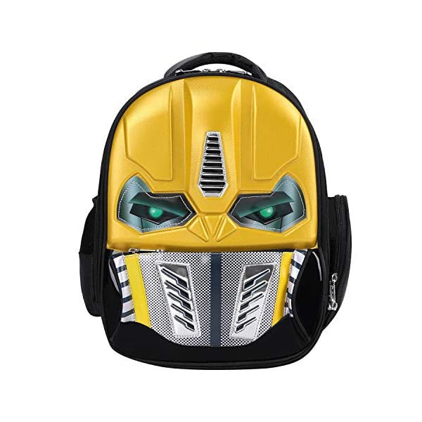 51ONmLeApeL. SS600  - Mochila de robot con efecto 3D y brillante, para la escuela, excursiones o viajes, para niños de 5-10 años, amarillo…